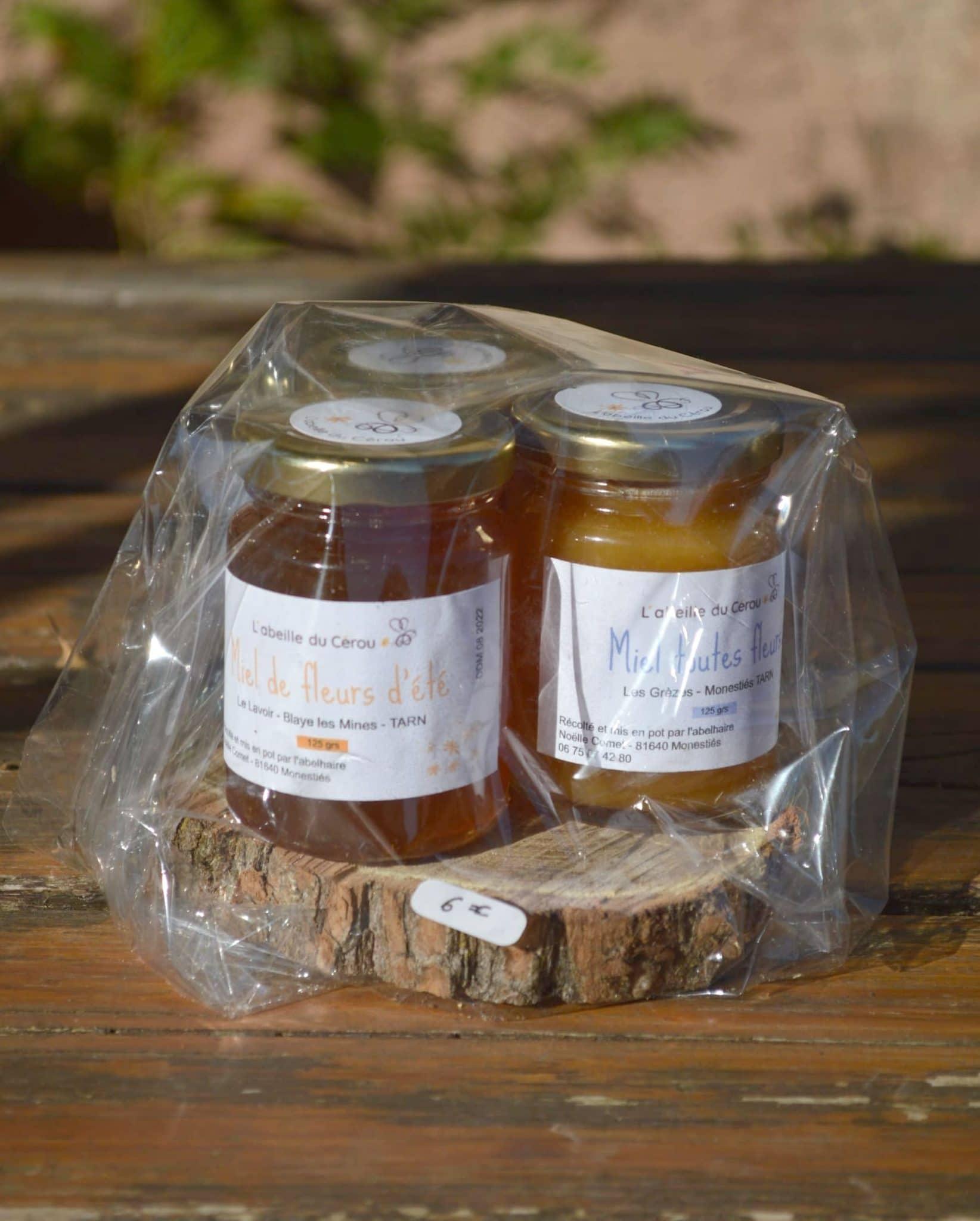 Trois pots de miel 125 grammes